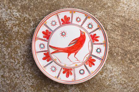 Тарелка Папараць кветка - птица