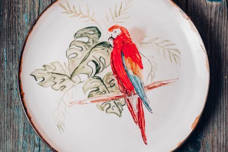 Блюдо с попугаем.